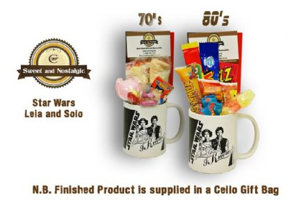 Star Wars Han Solo & Leia Mug with/without a hyperspace portion of 70's or 80's Sweets